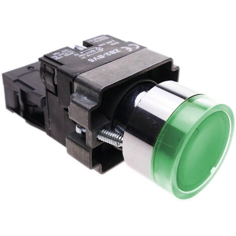 BeMatik - Pulsador momentáneo 22mm 1NO 400V 10A normal abierto con luz LED verde
