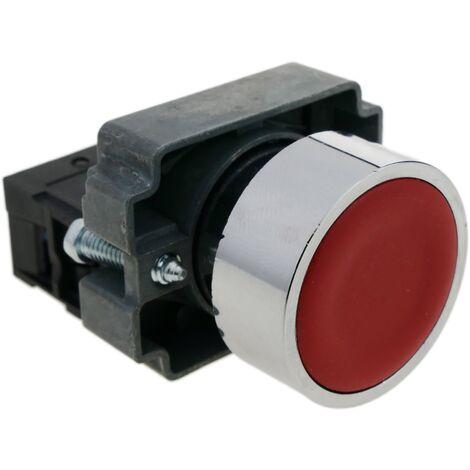 BeMatik - Pulsador momentáneo 22mm 1NO 400V 10A normal abierto rojo