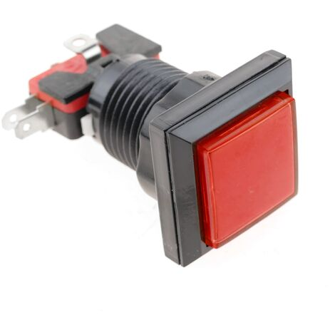BeMatik - Push button arcade momentary 32x32 mm 1NO 1NC 250V 15A SPDT red with light