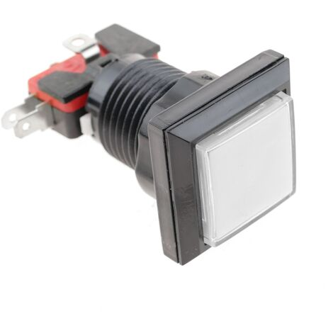 BeMatik - Push button arcade momentary 32x32 mm 1NO 1NC 250V 15A SPDT white with light