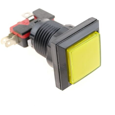 BeMatik - Push button arcade momentary 32x32 mm 1NO 1NC 250V 15A SPDT yellow with light