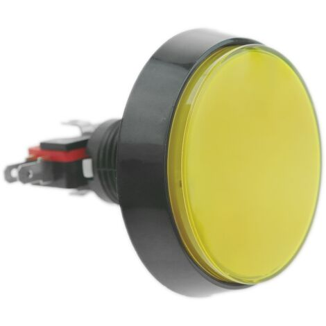 BeMatik - Push button arcade momentary 60 mm 1NO 1NC 250V 15A SPDT yellow with light