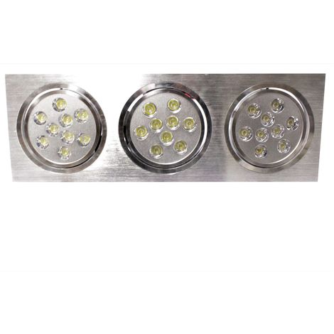 BeMatik - Recessed downlight LED 3x9W 139x400mm rectangular white cold day 6000K