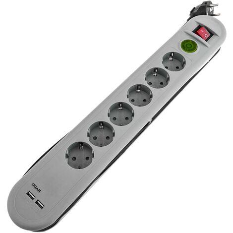 BeMatik - Regleta de enchufes 6 schuko 16A 250V con 2 USB y ahorro energía