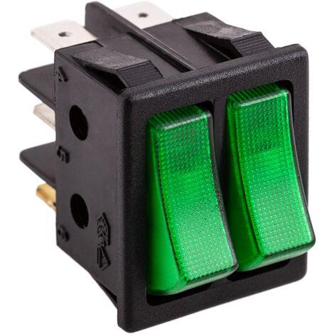 BeMatik - Rocker light switch green two-channel rocker light switch DPDT 6 pin