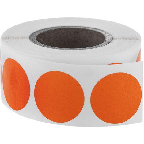 BeMatik - Roll of 500 orange round adhesive labels 19 mm