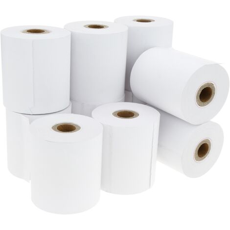 BeMatik - Rollo bobina de papel térmico para impresora TPV y caja registradora 57x60mm 10 unidades