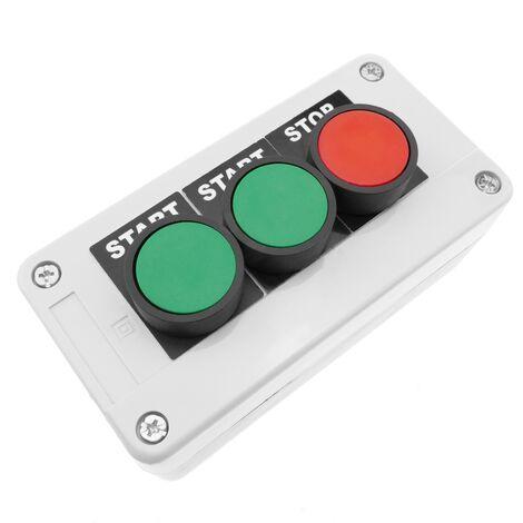 BeMatik - Scatola di controllo con 3 pulsanti momentaneo verde 1NO rosso 1NC