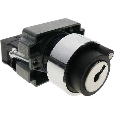 BeMatik - Selector rotatorio de enganche 22mm 400V 10A con bloqueo y llave