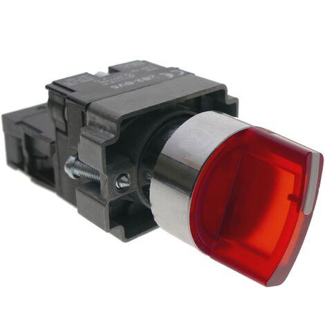 BeMatik - Selector rotatorio de enganche 22mm 400V 10A con bloqueo y luz LED rojo