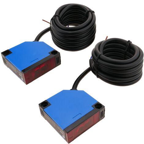 BeMatik - Sensor interruptor célula fotoeléctrica NO+NC 12-24VDC barrera