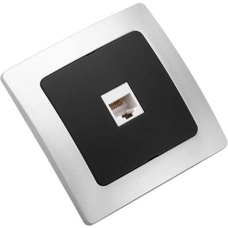 BeMatik - Single gang ethernet data socket RJ45 with 80x80mm cover frame Lille series silver and gray