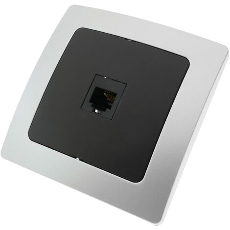 BeMatik - Single gang telephone socket RJ11 with 80x80mm cover frame Lille series silver and gray