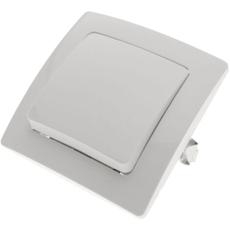 BeMatik - Single gang two way light switch mechanism with 80x80mm cover frame Lille series white