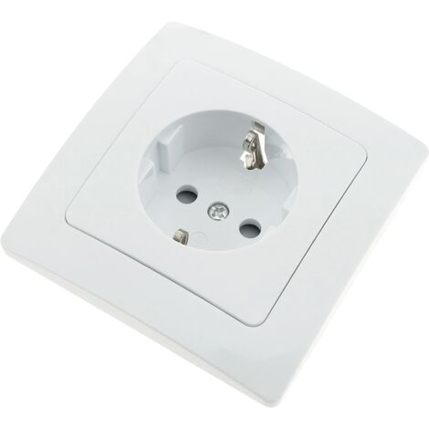 BeMatik - Single schuko socket mechanism with 80x80mm cover frame Lille series white