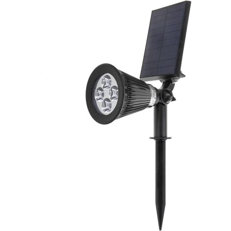BeMatik - Solar LED Spotlight IP44 2W 200LM with Garden Stake