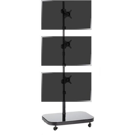 BeMatik - Soporte de TV VESA 50 75 100 para 3 pantallas en vertical
