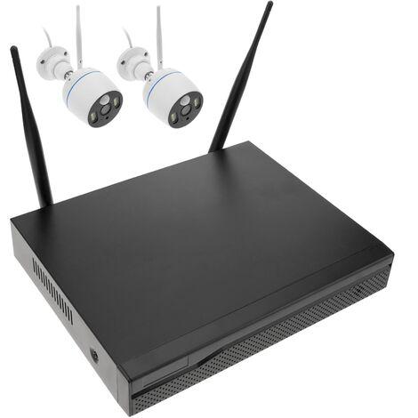 BeMatik - Système de vidéo surveillance NVR avec 2 caméras sans fil automatiques avec éclairage H.264 1080p