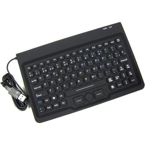 BeMatik - Teclado industrial USB de 85 teclas con ratón y negro
