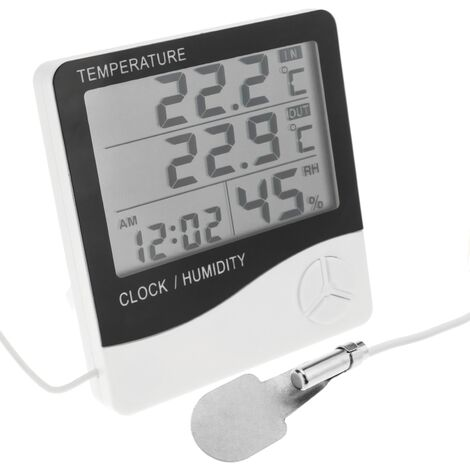BeMatik - Termómetro higrómetro y reloj digital DW-0202