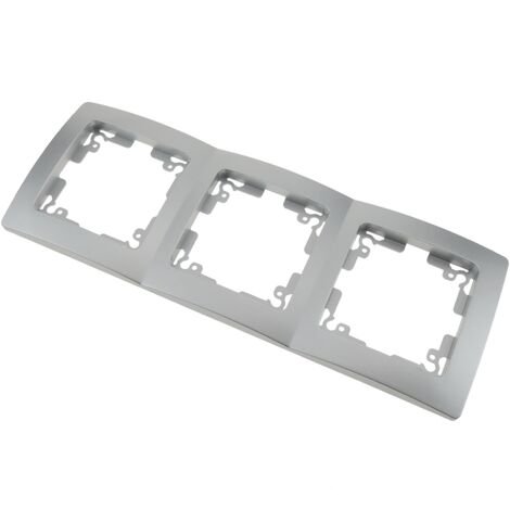 BeMatik - Triple cover frame for 3 module 225x80mm Lille series silver and gray