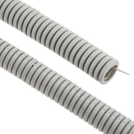 BeMatik - Tubo corrugado PVC con guía M-20 100 m Gris