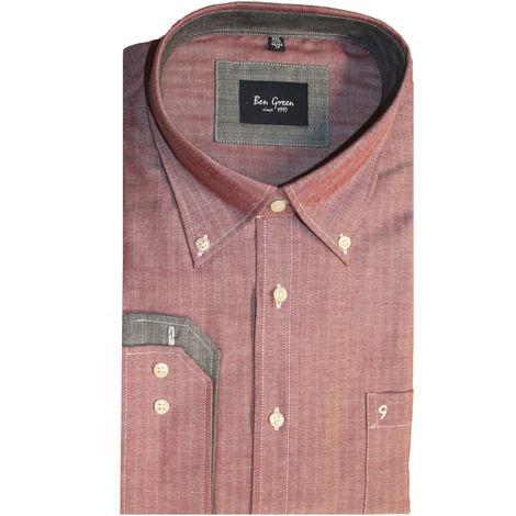 Ben Green Mens Cotton Herringbone Long Sleeved Shirt