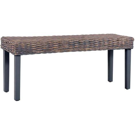 Bench 110 cm Grey Natural Kubu Rattan and Solid Mango Wood
