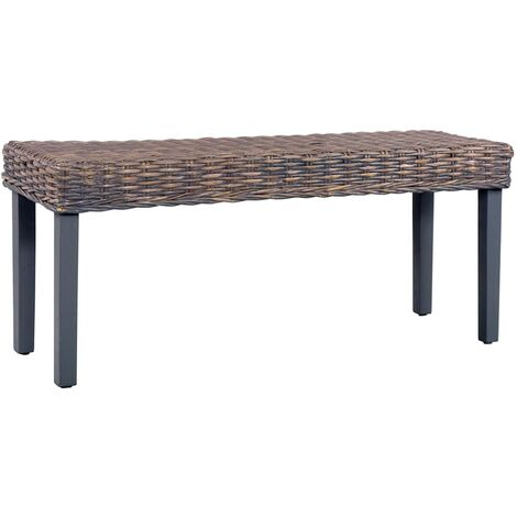 Bench 110 cm Grey Natural Kubu Rattan and Solid Mango Wood - Grey