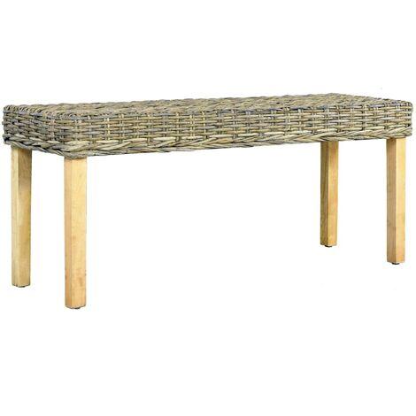 Bench 110 cm Natural Kubu Rattan and Solid Mango Wood - Brown