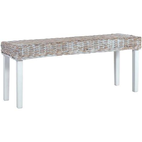 Bench 110 cm White Natural Kubu Rattan and Solid Mango Wood