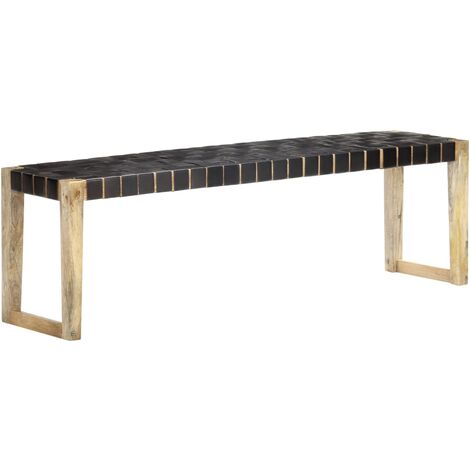 Bench 150 cm Black Real Leather and Solid Mango Wood