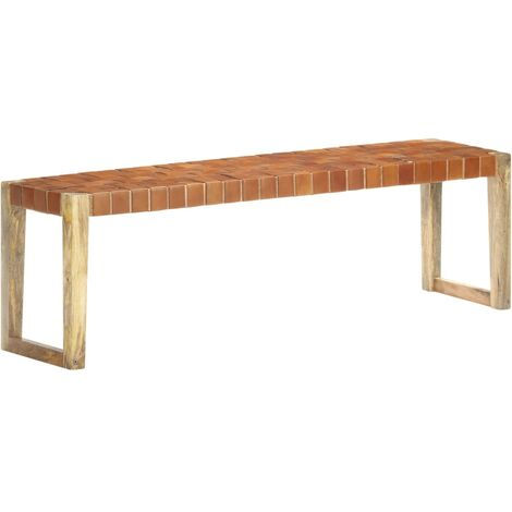 Bench 150 cm Brown Real Leather and Solid Mango Wood
