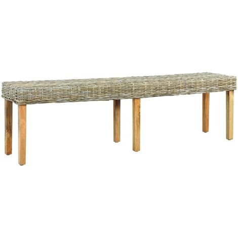 Bench 160 cm Natural Kubu Rattan and Solid Mango Wood - Brown