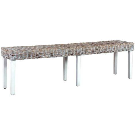 Bench 160 cm White Natural Kubu Rattan and Solid Mango Wood - White