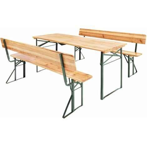 Table and bench set 176cm with backrest - bench table, dining table and bench set, dining set with bench - brown - braun