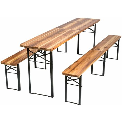 Table and bench set, foldable 3-piece 219cm - bench table, dining table and bench set, dining set with bench - brown