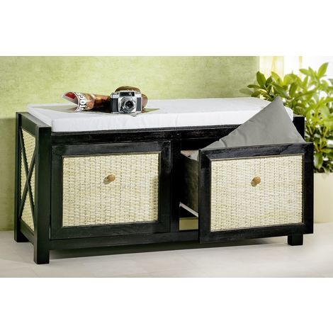 Bench, antique black, light rattan and drawers
