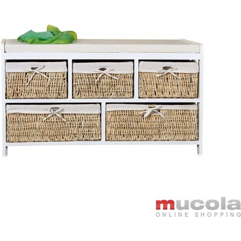 bench chest of drawers storage 5 baskets cushion willow wood white