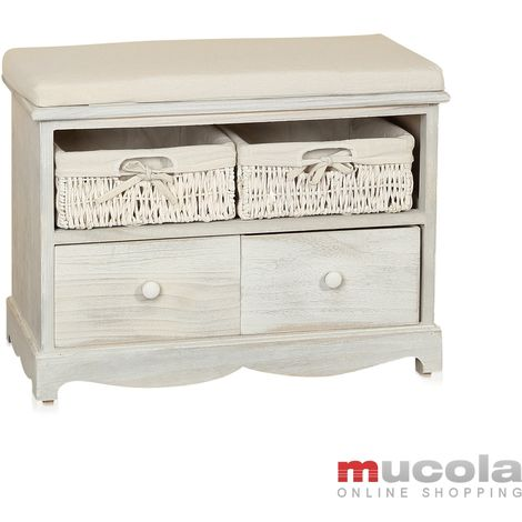 Bench Corridor chest Seat chest Bench Shabby Chic white 2 baskets Drawers Vintage