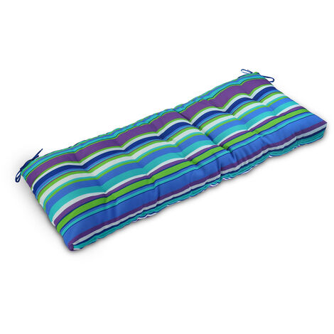 Bench Cushion Foldable Thick Garden Seat Chair Swing Cushion blue green stripes