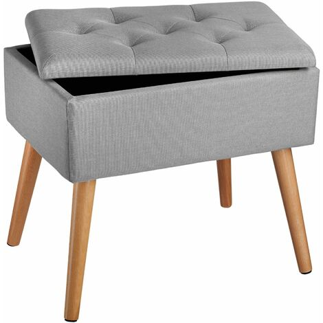 """main image of """"Bench Ranya upholstered linen look with storage space - 300kg capacity - stool, storage bench, shoe storage bench"""""""