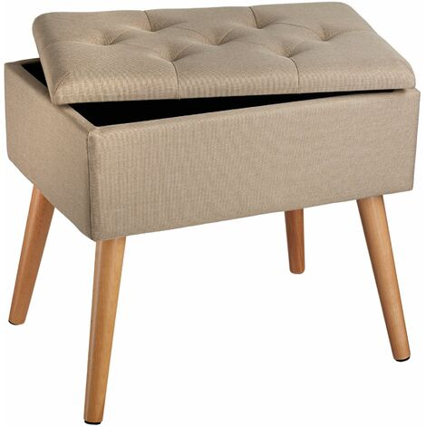 Bench Ranya upholstered linen look with storage space - 300kg capacity - stool, storage bench, shoe storage bench - sand