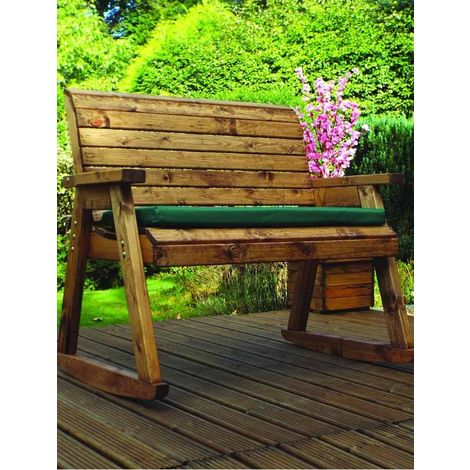 Bench Rocker with Green Cushions - Fully Assembled