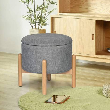 Bench seat box with storage of linen round light gray