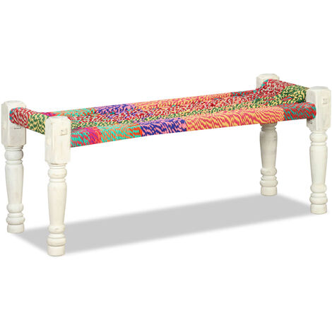 Bench Solid Acacia Wood with Chindi Fabric Multicolour - Multicolour