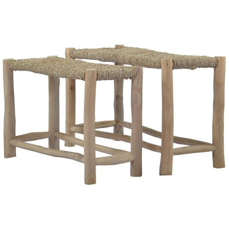 Benches 2 pcs Brown Seagrass
