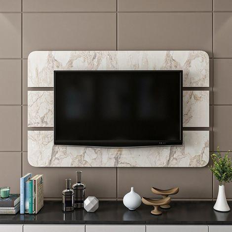 Bendis TV Panel - Decorative - Wall, Living Room - Black, White Wood, 150 x 4 x 96 cm