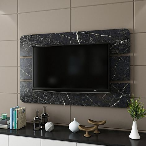 Bendis TV Panel - Decorative - Wall, Living Room - Black Wood, 150 x 4 x 96 cm