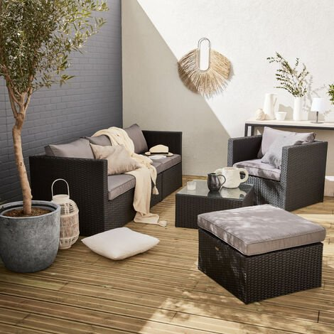 BENITO black / grey rattan and aluminium 5 seater garden sofa set
